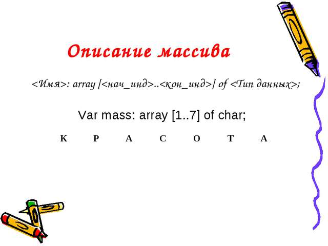 Описание массива : array [..] of ; Var mass: array [1..7] of char;