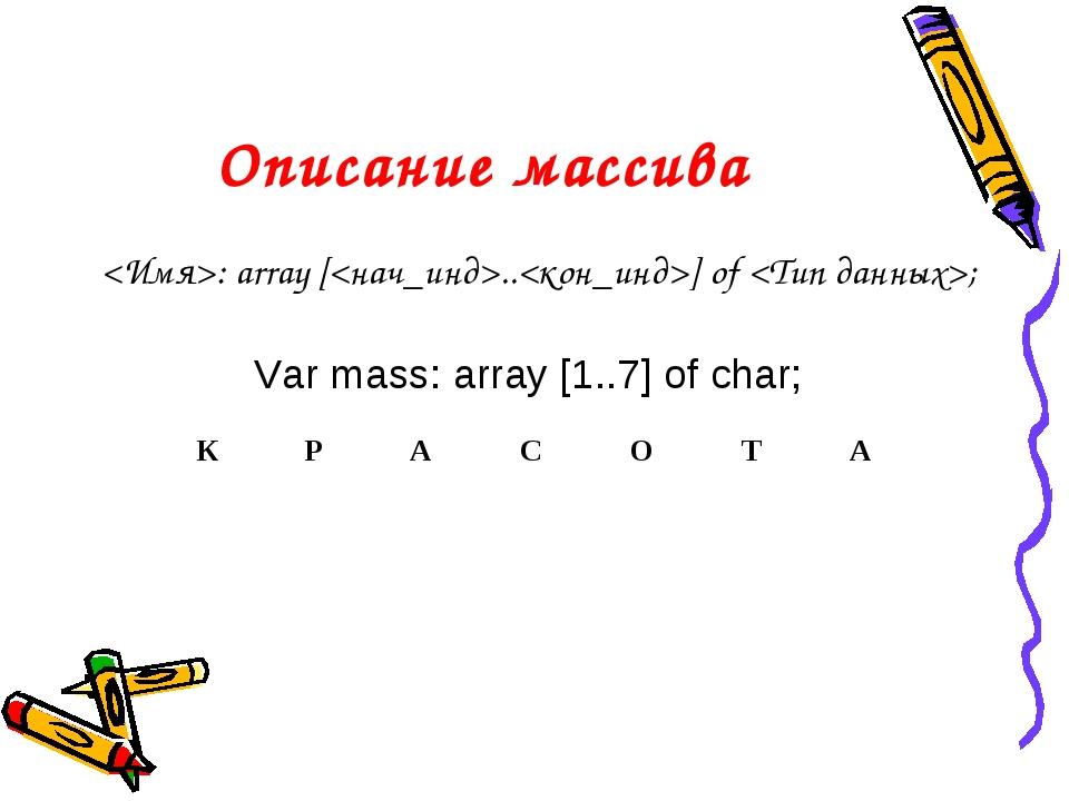 Описание массива : array [..] of ; Var mass: array [1..7] of char;