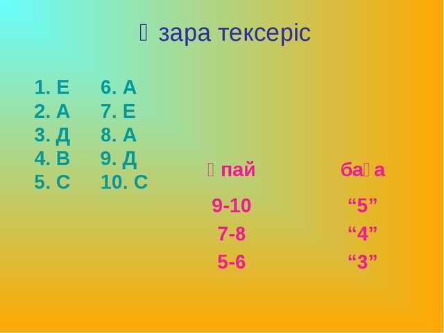 Өзара тексеріс 6. А 7. Е 8. А 9. Д 10. С 1. Е 2. А 3. Д 4. В 5. С ұпайбаға...