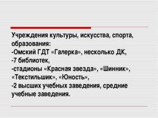 Учреждения культуры, искусства, спорта, образования: -Омский ГДТ «Галерка», н
