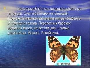 Некоторые бабочки совершают сезонные миграции. Они перелетают на большие рас
