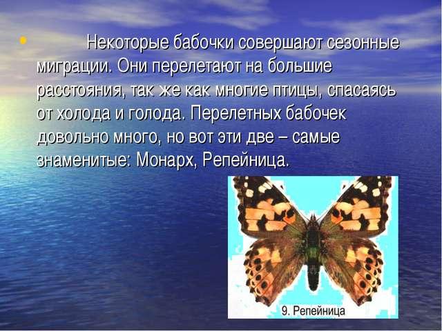 Некоторые бабочки совершают сезонные миграции. Они перелетают на большие рас...