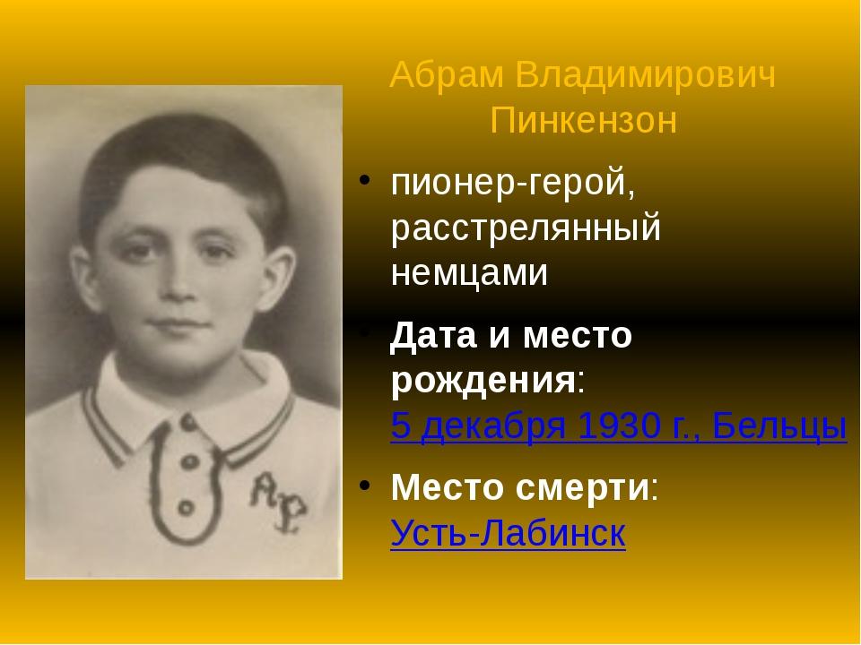 Абрам Владимирович Пинкензон пионер-герой, расстрелянный немцами Дата и место...