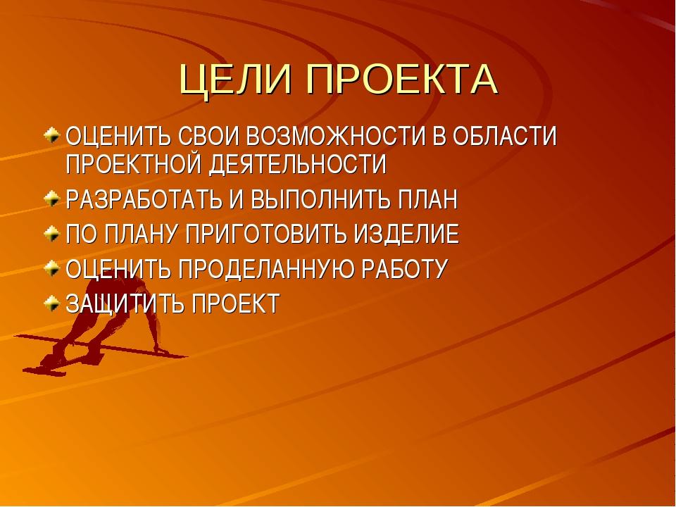 ЦЕЛИ ПРОЕКТА ОЦЕНИТЬ СВОИ ВОЗМОЖНОСТИ В ОБЛАСТИ ПРОЕКТНОЙ ДЕЯТЕЛЬНОСТИ РАЗРАБ...