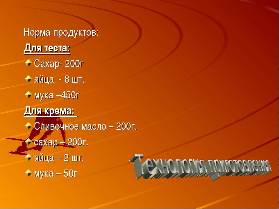 Норма продуктов: Для теста: Сахар- 200г яйца - 8 шт. мука –450г Для крема: Сл...