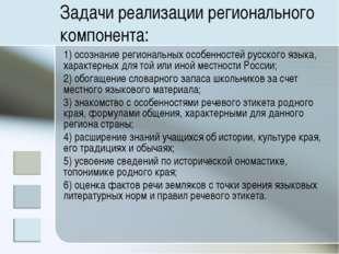 Задачи реализации регионального компонента: 1) осознание региональных особенн