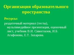 Организация образовательного пространства Ресурсы: раздаточный материал (тес