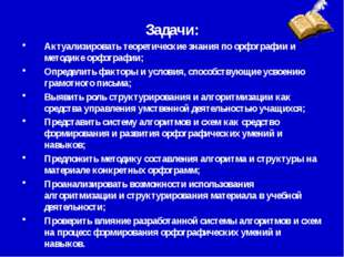 Задачи: Актуализировать теоретические знания по орфографии и методике орфогра