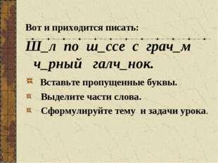 Вот и приходится писать: Ш_л по ш_ссе с грач_м ч_рный галч_нок. Вставьте проп