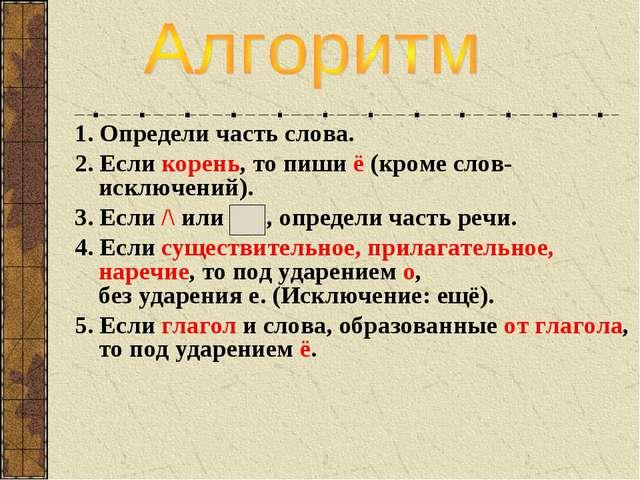 1. Определи часть слова. 2. Если корень, то пиши ё (кроме слов-исключений). 3...