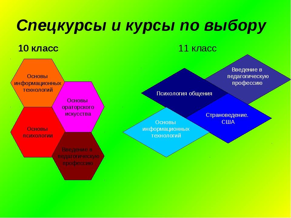 Спецкурсы и курсы по выбору 10 класс 11 класс Основы информационных технологи...