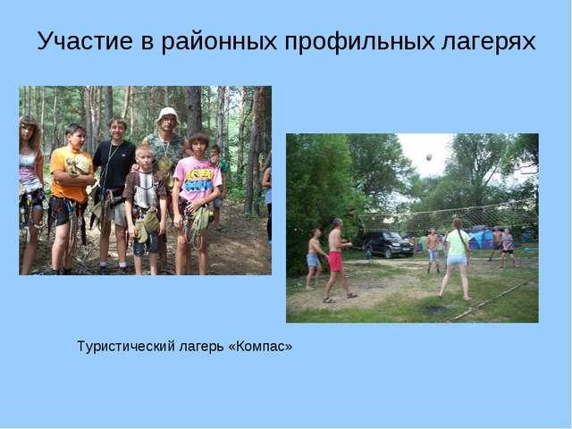 Участие в районных профильных лагерях Туристический лагерь «Компас»