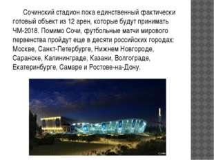 Сочинский стадион пока единственный фактически готовый объект из 12 арен, к