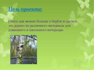Цель проекта:  узнать как можно больше о берёзе и сделать это дерево из разл