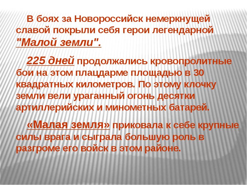 """В боях за Новороссийск немеркнущей славой покрыли себя герои легендарной """"Ма..."""