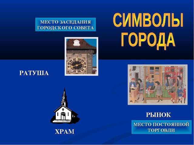 РАТУША МЕСТО ЗАСЕДАНИЯ ГОРОДСКОГО СОВЕТА ХРАМ РЫНОК МЕСТО ПОСТОЯННОЙ ТОРГОВЛИ