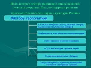 Итак, поворот вектора развития с запада на восток позволил сохранить Русь, но