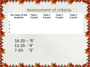 "Assessment of criteria 16-20 – ""5"" 11-15- ""4"" 7-10- ""3"" The name of the stude"