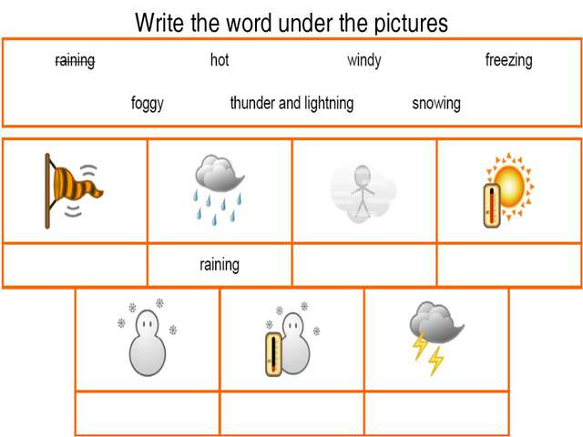 Write the word under the pictures