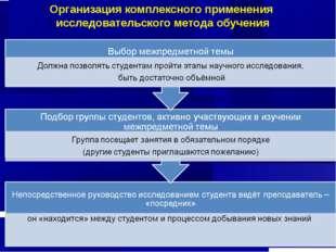 Организация комплексного применения исследовательского метода обучения