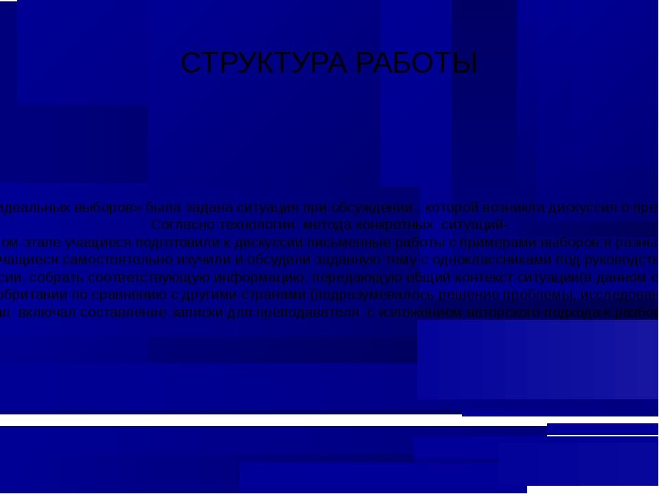 СТРУКТУРА РАБОТЫ На уроке в процессе работы над проектом по теме «Модель идеа...