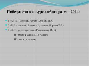 Победители конкурса «Алгоритм – 2014» 1 «А» III – место по России (Цориева И.
