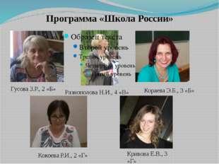 Программа «Школа России» Разнополова Н.И., 4 «В» Гусова З.Р., 2 «Б» Кораева Э