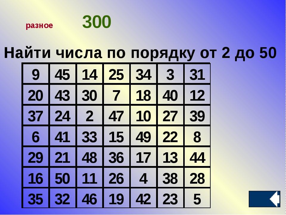 Найти числа по порядку от 2 до 50 разное300