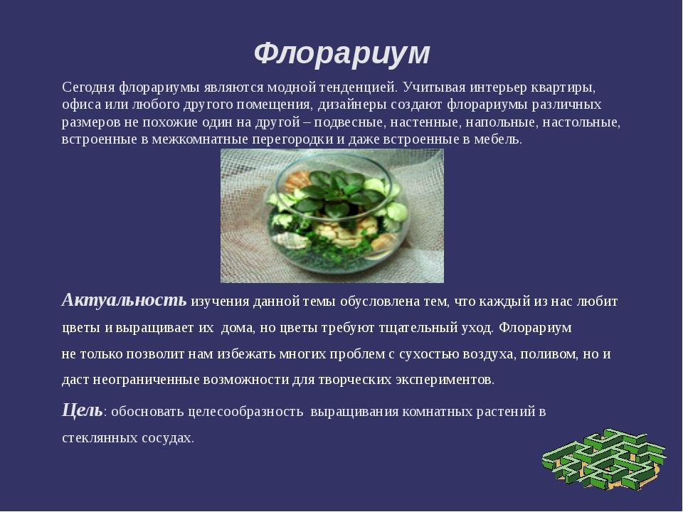 Флорариум Сегодня флорариумы являются модной тенденцией. Учитывая интерьер кв...