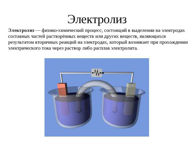 Электролиз Электролиз — физико-химический процесс, состоящий в выделении на э...