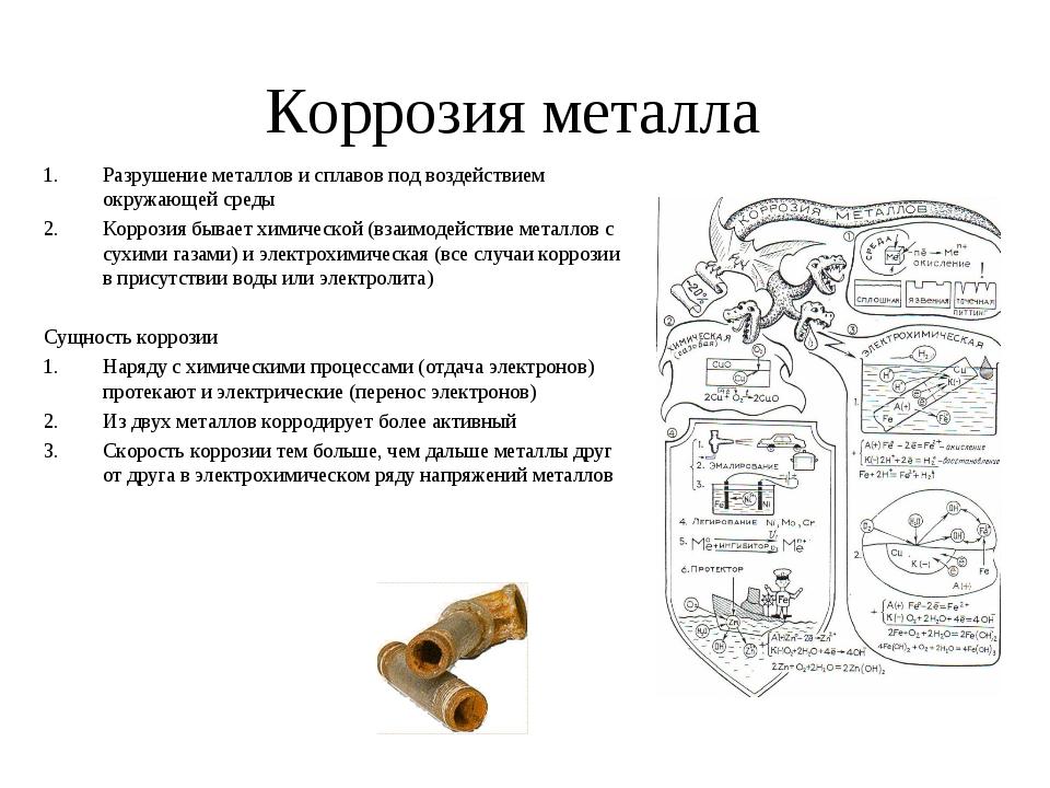 Коррозия металла Разрушение металлов и сплавов под воздействием окружающей ср...