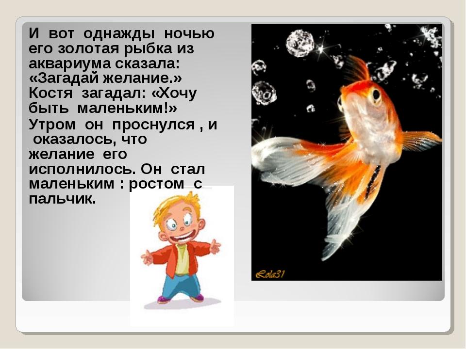 И вот однажды ночью его золотая рыбка из аквариума сказала: «Загадай желание....