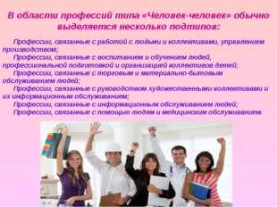 Профессии, связанные с работой с людьми и коллективами, управлением производс