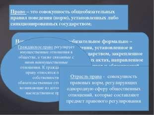 Право– это совокупность общеобязательных правил поведения (норм), установлен