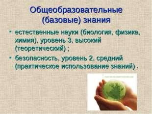 Общеобразовательные (базовые) знания естественные науки (биология, физика, хи