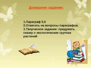 Домашнее задание: 1.Параграф 5,6 2.Ответить на вопросы параграфов. 3.Творческ