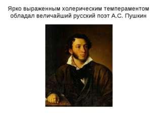 Ярко выраженным холерическим темпераментом обладал величайший русский поэт А.