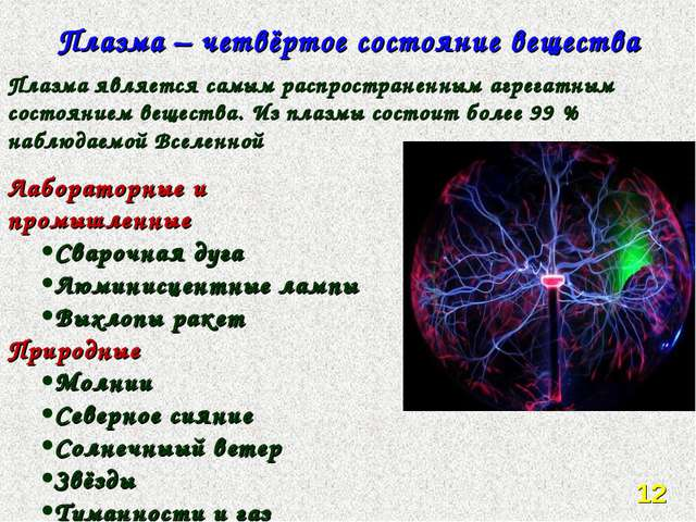 Плазма – четвёртое состояние вещества Плазма является самым распространенным...