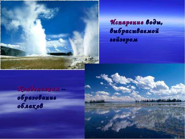 * Испарение воды, выбрасываемой гейзером Конденсация – образование облаков