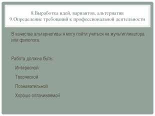 8.Выработка идей, вариантов, альтернатив 9.Определение требований к профессио