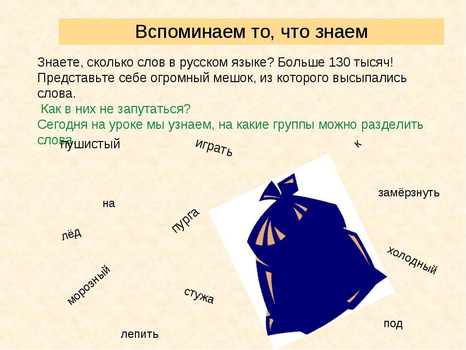 Вспоминаем то, что знаем Знаете, сколько слов в русском языке? Больше 130 тыс...