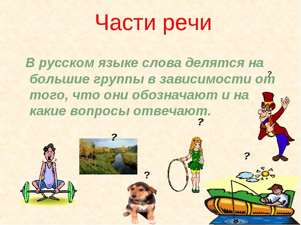 Части речи В русском языке слова делятся на большие группы в зависимости от т...
