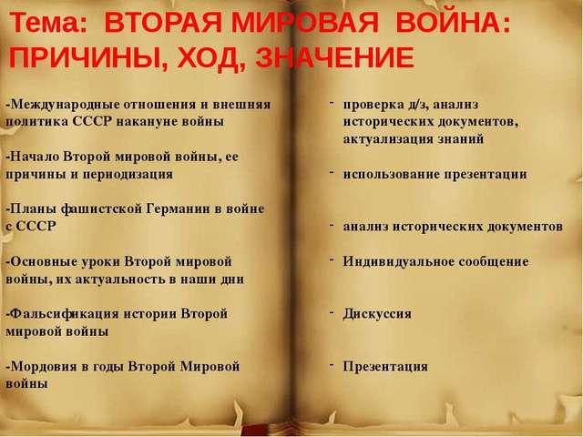 Тема: ВТОРАЯ МИРОВАЯ ВОЙНА: ПРИЧИНЫ, ХОД, ЗНАЧЕНИЕ -Международные отношения...