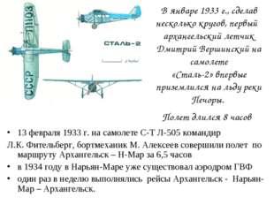 В январе 1933 г., сделав несколько кругов, первый архангельский летчик Дмитри