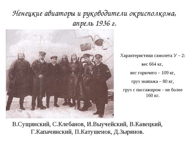 Ненецкие авиаторы и руководители окрисполкома, апрель 1936 г. Характеристики...
