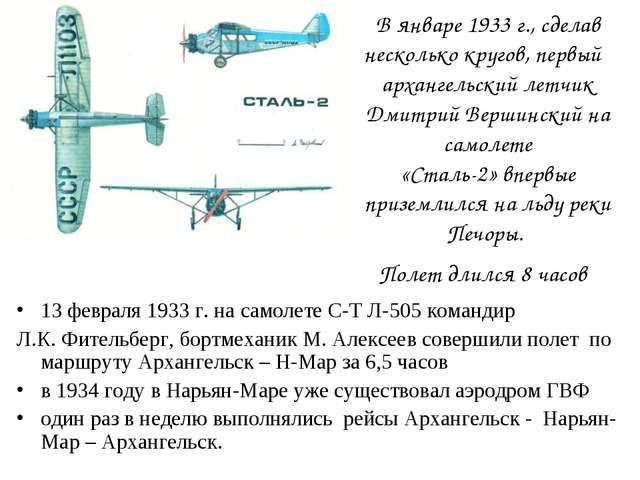 В январе 1933 г., сделав несколько кругов, первый архангельский летчик Дмитри...