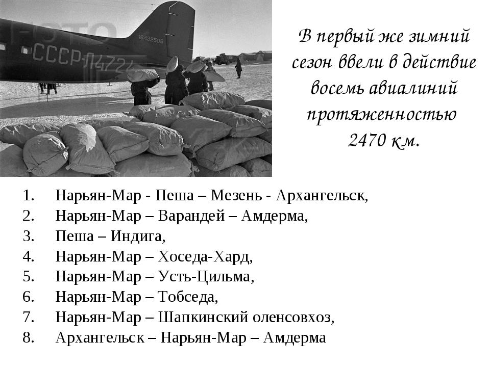 Нарьян-Мар - Пеша – Мезень - Архангельск, Нарьян-Мар – Варандей – Амдерма, Пе...