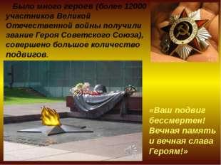Было много героев (более 12000 участников Великой Отечественной войны получи