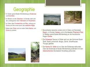 Geographie Im Süden grenzt Baden-Württemberg an Bodensee und Hochrhein, im W