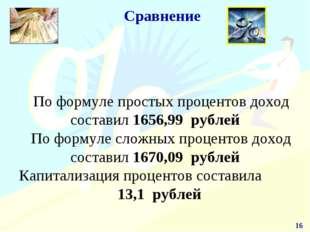 * Сравнение По формуле простых процентов доход составил 1656,99 рублей По фор